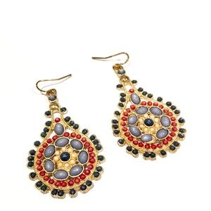 ANTHROPOLOGIE multi-color beaded Teardrop earrings